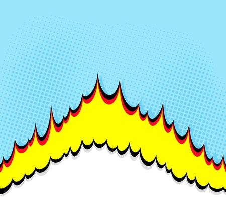 dynamite: Boom. Comic book explosion background. Halftone design effect