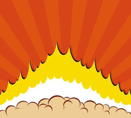 Boom. Vector Comic book explosion background with sun effect