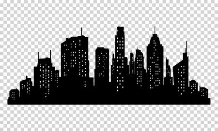 Set van vector stad silhouet en elementen voor ontwerp. Geïsoleerd op pixelated achtergrond Vector Illustratie