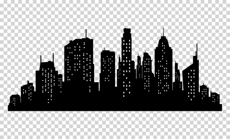 Set of vector city silhouette and elements for design. Isolated on pixelated background