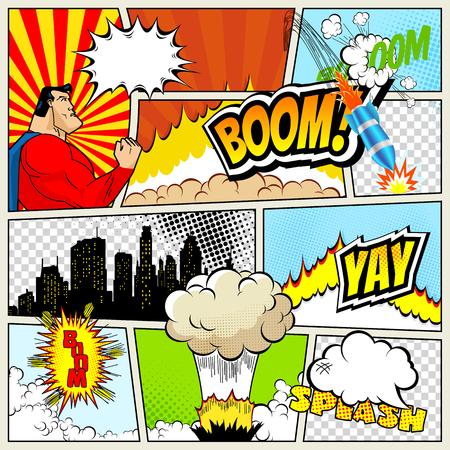 吹き出しやシンボルと効果音とスーパー ヒーロー ハーフトーンの背景色の典型的な漫画ページの高精細ベクトル モックアップ
