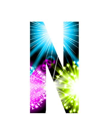 single word: Sparkler firework letter isolated on white background, Letter N Illustration