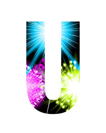 single word: Sparkler firework letter isolated on white background, Letter U