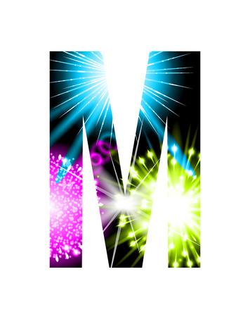 Sparkler firework letter isolated on white background, Letter M