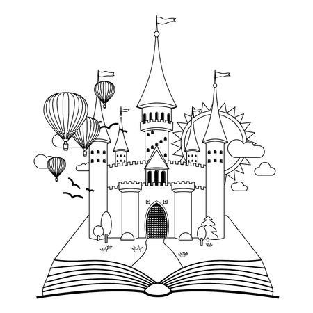 Château de conte de fées sur l'image vectorielle de livre à colorier