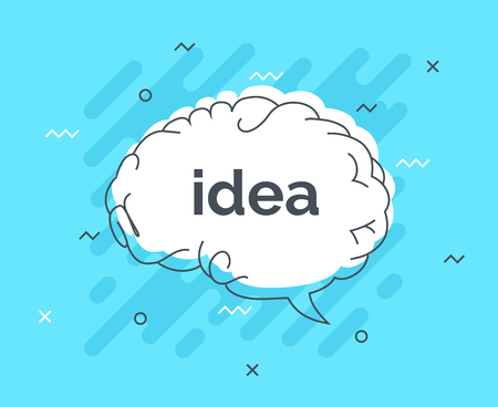 Quick Tips badge with speech bubble idea brain. Trendy flat vector on white background. Smart concept vector illustration.