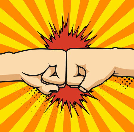 Two fists bumping together vector illustration, two hands with fists in air punching, concept of fight, strength cartoon gesture on white background, flat line outline art.