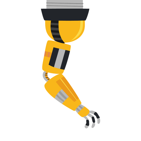 Industrial mechanical robot arm vector icon. Yellow robotic arm