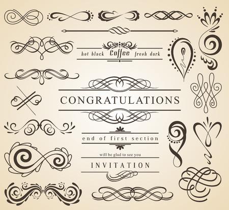 Ensemble d'éléments de décorations vintage. Fleurit des ornements calligraphiques et des cadres avec place pour votre texte. Collection de design de style rétro pour invitations, bannières, affiches, badges, logotypes