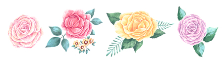 Set of beautiful bouquets flowers of red, pink and gentle peach blooming roses with leaves and buds. Floral design wedding elements branch greenery leaves. Vector illustration in watercolor  イラスト・ベクター素材
