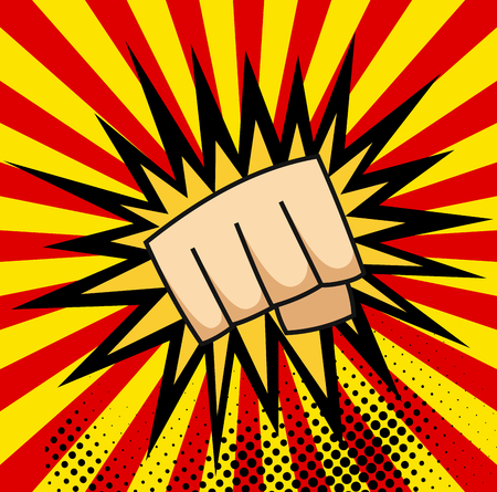 A pop art cartoon comics poster with fist and explosion bubble on comic background Illustration