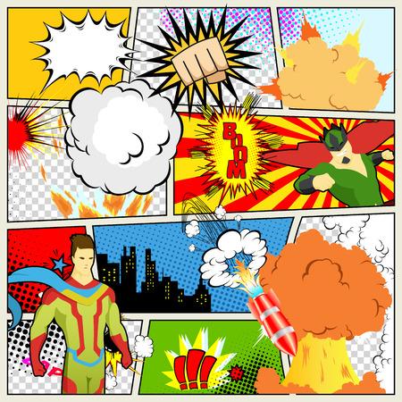 Strips sjabloon. Vector Retro Comic Book tekstballonnen illustratie. Mock-up van stripboekpagina met plaats voor tekst, tekstballonnen, symbolen, gekleurde halftoonachtergrond en superheld