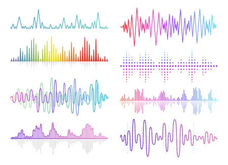 Vektormusik-Schallwellen eingestellt. Digitale Audio-Equalizer-Technologie, Konsolenpanel, Pulsmusical Vektorgrafik