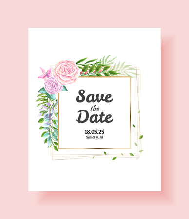 Wedding Invitation card, save the date, thank you, rsvp template. Vector watercolor flowers, Ivy plants