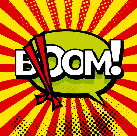 Cartoon, Boom explosion Comic Speech Bubble. Comic book page 向量圖像