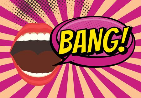 Speech Bubble with Woman lips in Pop-Art Style. Bang sound text.  イラスト・ベクター素材