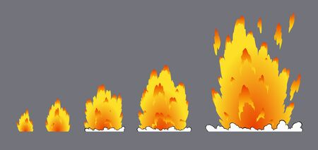 Cartoon explosion effect with smoke. Effect boom, explode flash, bomb comic book, vector illustration. Animation for game of the explosion effect, broken into separate frames.