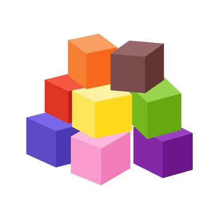Set of blank colorful toy bricks vector illustration. Single vector cubes isolated on white background.