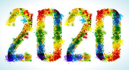 2020 year paint splashes. Gradient Vector Font. Number.