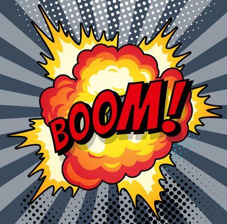 Dessin animé, explosion de boom bulle de dialogue comique