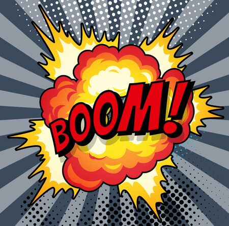 Dibujos animados, Boom explosion Comic Speech Bubble