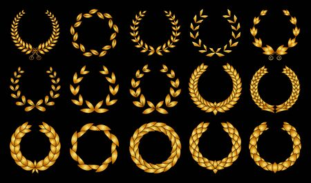 Collection of different golden silhouette circular laurel foliage, wheat and oak wreaths depicting an award, achievement, heraldry, nobility. Иллюстрация