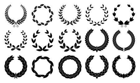 Set of wreaths circular laurel heraldry reward achievement leaf nobility laurel wreath. Иллюстрация