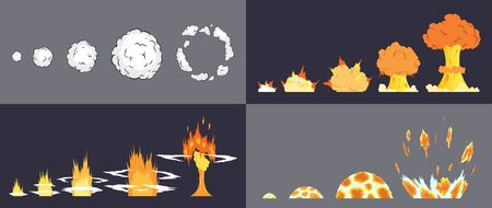 Animation of explosion effect in cartoon comic style. Cartoon explosion effect with smoke for game. Sprite sheet for cartoon fire explosion, flash game effect animation