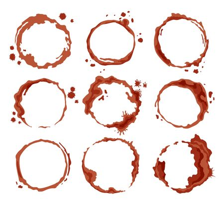 Coffee brown stains. Dirty cup splash ring stain or coffee stamp, dirt watercolor latte or tea spots. Coffee ring stain for card, list, menu