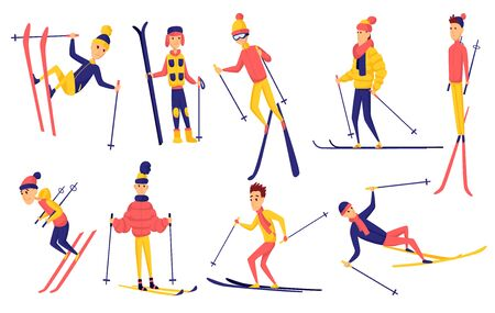 Vector set of skiers. Winter sportsman in different poses on ski resort. Men in the ski resort. Winter sport activity. Male skiing design elements. Skier jump, stand, fell, ride