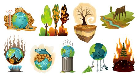 Collection of earth global warming illustration. Warning ecology posters. Concept global planet drought icons. Poorly globe characters of cartoon earth