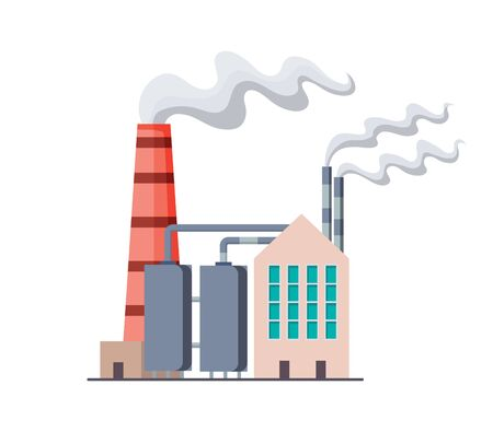 Factori or power plant flat design of vector illustration. Manufactory industrial building refinery factory or Nuclear Power Station. Building big of plant or factory with pipe smoke. 向量圖像