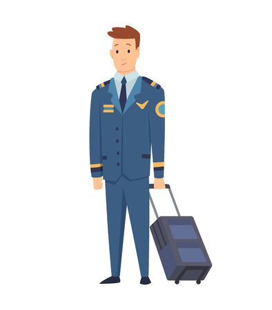Smiling civilian aircraft pilot, aircrew captain, aviator or airman dressed in uniform with suitcase. Cheerful male cartoon character isolated on white background. Colorful vector illustration.