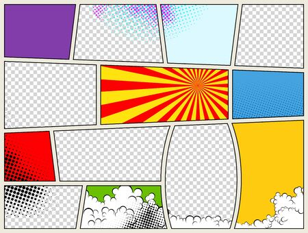 Comic book page template with radial halftone effects and rays in pop-art style. Colorful empty background. Vector illustration.