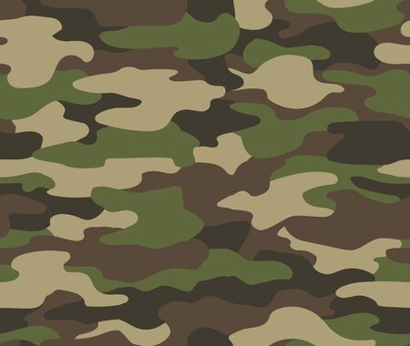 Camouflage seamless pattern. Abstract military or hunting camouflage background. Classic clothing style masking camo repeat print. Green brown black olive colors forest texture camouflage.