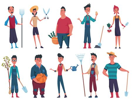 Set of happy mans and womans gardener or farmer with shovel, tree, pitchfork, pumpkin, funnel in hand on a white background. Design elements of a private farm