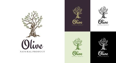 Elegant olive tree isolated icon. Creative olive tree silhouette. design used for advertising products premium quality Vettoriali