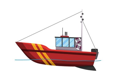 Fishing boat side view isolated on white background. Fishing commercial ship, fisher sea boat for ocean water, shipping seafood industry. Fisherman boat Illustration