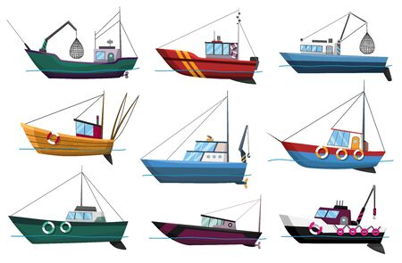 Collection of fishing boats side view isolated on white background. Commercial fishing trawlers for industrial seafood production vector illustration. Sea fishing, ships marine industry, fish boats Illustration