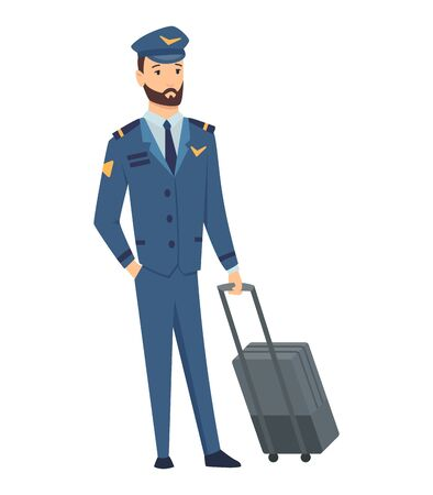 Smiling civilian aircraft pilot, aircrew captain, aviator or airman dressed in uniform with suitcase. Cheerful male cartoon character isolated on white background. Colorful vector illustration