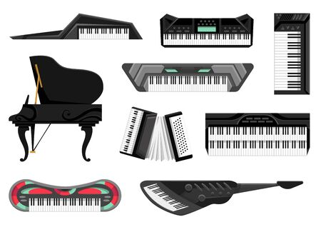 Collection of musical keyboard instrument. Isolated icons set of music key boards on white background. Vector musician equipments. Tools for music lover