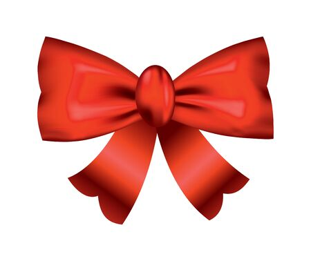Vector beautiful realistic red bow. Silk style of elegance packing element. Can be use for decoration gifts, greetings card etc Vetores