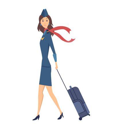 Smiling civilian aircraft stewardess dressed in uniform with suitcase. Cheerful female cartoon character isolated on white background. Colorful vector illustration in flat style