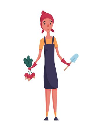 Happy woman gardener or farmer with radish and shovel in hand on a white background. Cartoon character of man farming concept illustration. Design element of a private farm