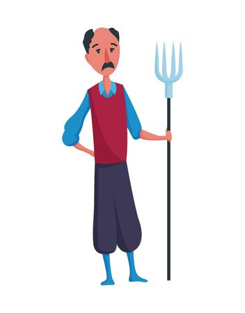 Happy mustachioed man gardener or farmer with pitchfork on a white background. Cartoon character of man farming concept illustration. Design element of a private farm.