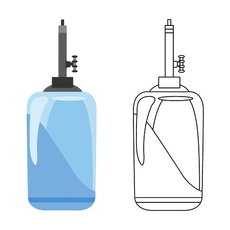 Flat vector icon of water filter. Color and sketch style. Water filter at home component for clean water business. Water is purified through the filter system concept