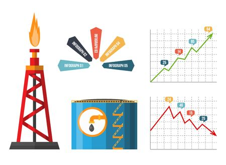 Oil rig. Petroleum elements. Process of oil production and petroleum refining. Fuel. Flat vector element for banner or infographic poster