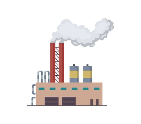 Factori or power plant flat design of vector illustration. Manufactory industrial building refinery factory or Nuclear Power Station. Building big of plant or factory with pipe smoke