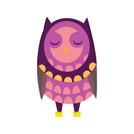 Cute funny owl with eyes closed. Forest bird. Decorative and style toy, doll. Happy and joyful bird in flat style. Isolated children cartoon illustration, for print or sticker