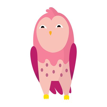 Cute funny owl. Forest bird. Decorative and style toy, doll. Happy and joyful bird in flat style. Isolated children cartoon illustration, for print or sticker